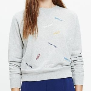 Madewell Tops - Madewell Gray Throwback Embroidered CitySweatshirt